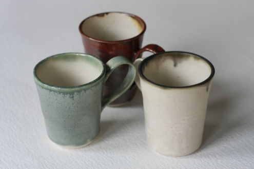 Celadon, Orange Red, Oatmeal, Small Cups £4.50 each