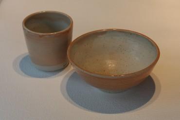 Bowl Beaker Combination - Melon Glaze Outer, Ivory Inner - £17.50
