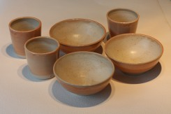 Bowl and Beaker combination - Melon Glaze Outer, Ivory Inner