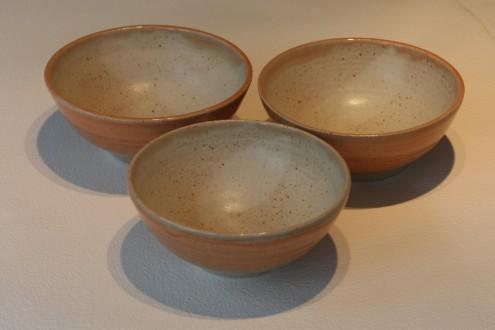 Bowl Trio - Melon Glaze Outer, Ivory Inner
